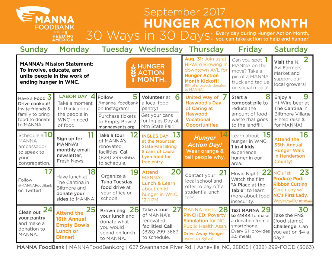 MANNA FoodBank Hunger Action Month 2017